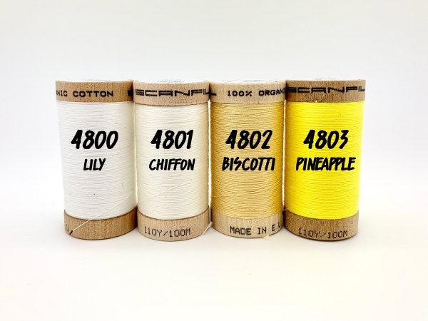 Organic Cotton Sewing Thread White and Yellow